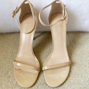 Stuart Weitzman Nude Patent Strappy Heels Size 8